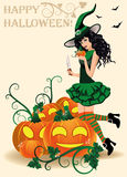 Happy Halloween card. Witch and pumpkins Stock Photos