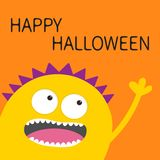 Happy Halloween card. Yellow screaming spooky monster head silhouette. Two eyes, teeth, tongue, hand. Funny Cute cartoon character. Baby collection. Flat Stock Images