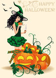 Happy Halloween card. Young witch and pumpkins Stock Images