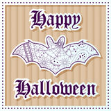 Happy halloween on cardboard background Royalty Free Stock Images