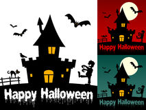 Happy Halloween Cards [1]. Happy Halloween greeting card in three different versions (on white, red and green background), with a haunted house, a zombie walking Stock Image