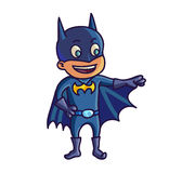 Happy halloween. Cartoon cute child in costume batman. Vector Illustration Royalty Free Stock Photography