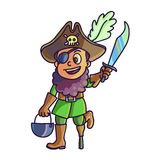 Happy halloween. Cartoon cute child in costume pirate Royalty Free Stock Image