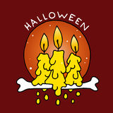 Happy Halloween cartoon icon with candles Royalty Free Stock Photo
