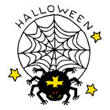 Happy Halloween cartoon icon with spider in a web Royalty Free Stock Photos