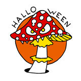 Happy Halloween cartoon icon with toadstool mushroom Royalty Free Stock Images