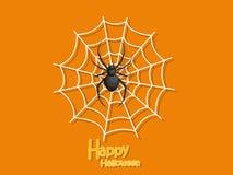 Happy Halloween. Cartoon Spider and Cobweb on Background. Vector. Illustration vector illustration