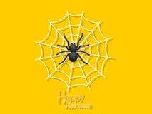 Happy Halloween. Cartoon Spider and Cobweb on Background. Vector. Illustration stock illustration