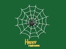 Happy Halloween. Cartoon Spider and Cobweb on Background. Vector. Illustration royalty free illustration