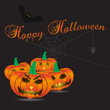 Happy halloween carved pumpkins and scary background eps10 Stock Photography