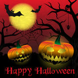 Happy halloween carved pumpkins and scary night background eps10 Royalty Free Stock Photo
