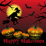 Happy halloween carved pumpkins and scary witch background eps10. Happy halloween carved pumpkins and scary witch background royalty free illustration