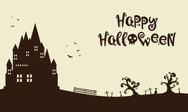 Happy Halloween with castle background. Vector illustration Royalty Free Stock Photo