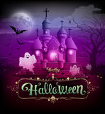 Happy halloween castle classic design Royalty Free Stock Photography