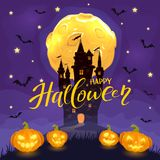 Happy Halloween with castle and happy pumpkins on purple backgro. Moon and bats on night background with dark castle, smiling pumpkins and lettering Happy Royalty Free Illustration
