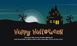 Happy Halloween with castle at night landscape. Vector illustration Royalty Free Stock Photos
