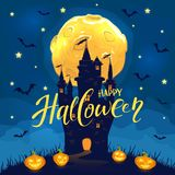Happy Halloween with castle and happy pumpkins. Moon and bats on blue night background with dark castle, smiling pumpkins and lettering Happy Halloween royalty free illustration