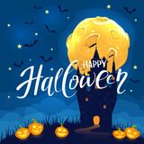 Happy Halloween with castle and smiling pumpkins. Lettering Happy Halloween on night background with dark castle, smiling pumpkins, Moon and bats, illustration royalty free illustration
