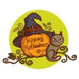 Happy Halloween. Cat. Pumpkin Stock Image