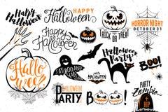 Happy Halloween celebration icon label templates Stock Photos