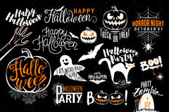Happy Halloween celebration icon label templates. With scary symbols - zombie hand, bat, halloween pumpkin, cat, boo, ghost, spider, spiderweb. Retro element vector illustration