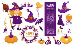 Happy Halloween celebration symbolic elements, icons and text vector. Big october pumpkin and witch hat, spooky cat and flying bats. Fired candle, broom in vector illustration