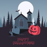 Happy halloween on cemetery. Vector night at the cemetery, halloween celebration, the moon lights the forest and the old house, the measured rise from the graves Stock Images