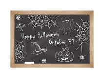 Happy Halloween. Chalk drawings on the blackboard. Vector illustration Royalty Free Stock Photography