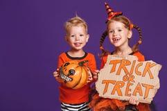 Happy Halloween! cheerful children in costume with pumpkins on v. Happy Halloween! cheerful children in costume with pumpkins on a violet purple background stock photos