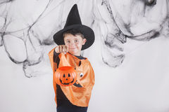 Happy halloween. Child dressed as a pumpkin for Halloween Stock Photography