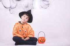 Happy halloween. Child dressed as a pumpkin for Halloween Royalty Free Stock Photography