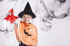 Happy halloween. Child dressed as a pumpkin for Halloween Royalty Free Stock Images