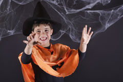 Happy halloween. Child dressed as a pumpkin for Halloween Stock Photo