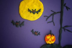 Happy Halloween. Childlike Halloween Art. Scene made out of play clay plasticine Stock Photography