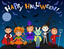 Happy Halloween. Children in halloween costumes. Vampire Dracula, devil, witch, pumpkin, zombie, skeleton. Boys and girls on nights background. Vector royalty free illustration