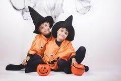 Happy halloween. Children dressed as pumpkins for Halloween Stock Images