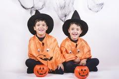 Happy halloween. Children dressed as pumpkins for Halloween Stock Photography