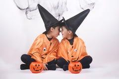 Happy halloween. Children dressed as pumpkins for Halloween stock photo