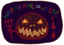 `Happy Halloween` Children`s Drawing Style Vector Stock Photography