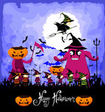 Happy Halloween with children trick or treating Stock Photography