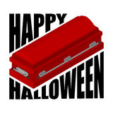 Happy Halloween. coffin and typography. Illustration for terribl Stock Photo