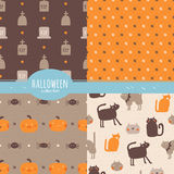 Happy Halloween collection. Set of seamless vector patterns with traditional holiday symbols: pumpkins, cats, spiders, graves in orange and brown colors Royalty Free Stock Images