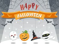 Happy Halloween. Colorful greeting card with funny cartoon characters. vector illustration
