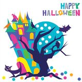 Happy Halloween colorful typography with a mysterious haunted stooping house with eerie windows and a spooky crooked tree. With a spider web and owl and a stock illustration