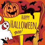 Happy halloween concept background, hand drawn style vector illustration