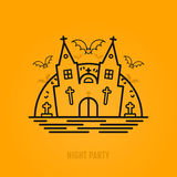 Happy halloween concept with bats, moon, castle church and graves. Royalty Free Stock Images