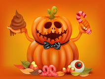 Happy Halloween concept card with double pumpkin character Royalty Free Stock Photo