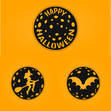 Happy halloween concept design badges in line style with bat, witch, moon. Royalty Free Stock Photo