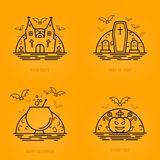 Happy halloween concept icons in line style with bats moon cauldron pumpkin coffin graves castle church. Royalty Free Stock Photography