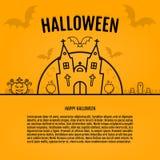 Happy halloween concept orange background with bats moon cauldron pumkin coffin graves castle church. Royalty Free Stock Photo